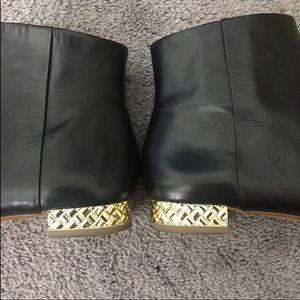 Banana Republic Black Bootie with gold heel